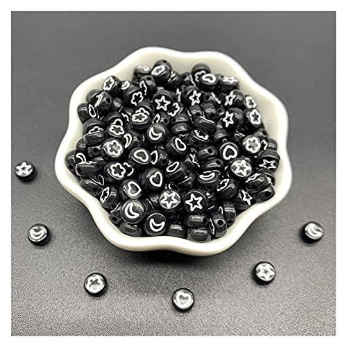 KASILU Zhuz54 100 unids/Lote 7 mm Forma óvalo acrílico Perlas espaciadas Estrellas Luna Cuentas de Luna para joyería Haciendo Bricolaje encantos Pulsera collac Bricolaje (Color : 02)