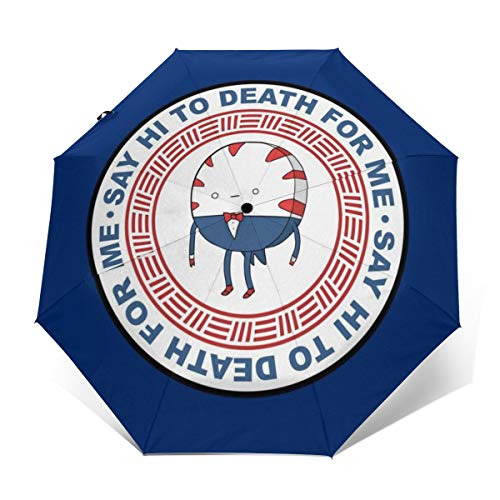 Adventure Time Peppermint Butler Say Hi to Death Logo, Winddicht, kompakt, automatisch, faltbar, Reise-Sonnenschirm