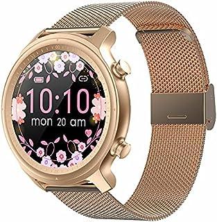 ساعة ذكية للنساء Q1 بشاشة تعمل باللمس دائرية مزودة بخاصيتي البلوتوث والاتصال، مع قياس معدل ضربات القلب، PK R2 (باللون الذهبي)