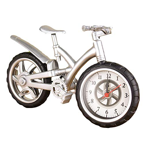 everd1487HH Fashion Miniature Bicycle Bike Shape Wake Up Time Display Alarm Clock Decor Gift,Novely and Funny Home Ornaments Children Gift- White