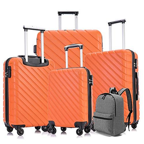 Luggage Set, Semper 4 Piece Luggage Set Suitcases with Spinner Wheels Hardshell Lightweight Luggage W/ Backpack (Orange)