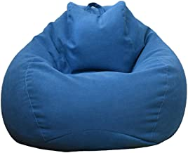 Stotoo Large Small Lazy Sofas Cover Chairs Without Filler Linen (S,Blue)