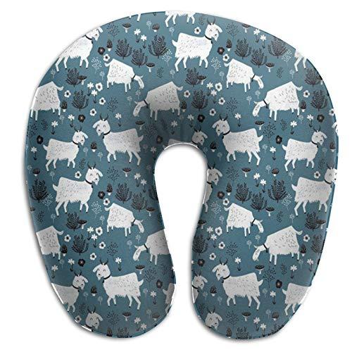 Almohada de espuma viscoelástica para el cuello, cabras y animales de granja de bebé, almohada de viaje ligera para la siesta