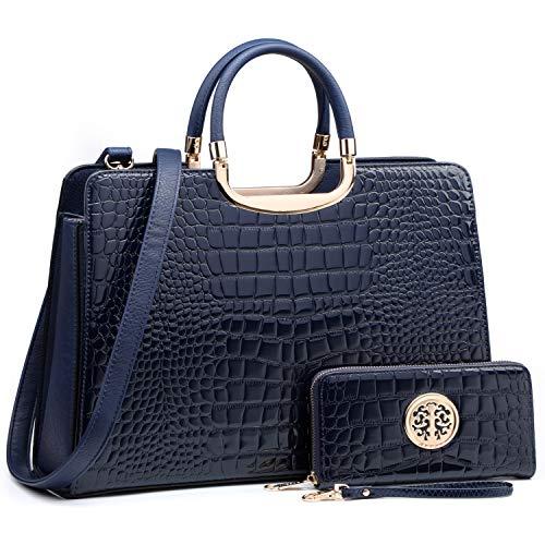Women's Fashion Handbag Shoulder Bag Hinged Top Handle Tote Satchel Purse Work Bag with Matching Wallet (3-croco Blue Wallet Set)