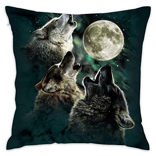 HZLM Three Wolf Moon - Funda de cojín cuadrada (45 x 45 cm), diseño de luna