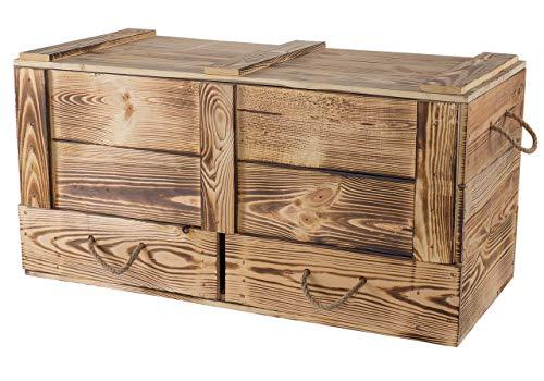 Obstkisten-online 1x schön gemaserte Holz - Truhe mit Schubladen und Deckel - NEU - 85 x 39 x 40 cm - Stauraum für Decken, Kissen im Schlafzimmer