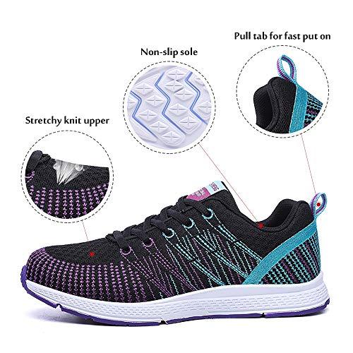 Zapatillas de Deportivos de Running para Mujer Gimnasia Ligero Sneakers Morado 40