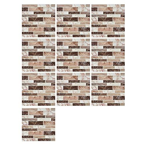 10 Piezas Pegatinas de Pared PVC, Azulejos Adhesivos Resistente Calor Impermeable Protector contra Salpicaduras para Sala Cocina Mosaico Pasto Cerde (10 x 10 cm / 3.94 x 3.94 Pulgadas)