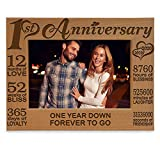 KATE POSH - Our 1st Anniversary Picture Frame - 12 Months Engraved Natural Wood Photo Frame - First (1st), Paper, 1 Year as Husband and Wife (4x6-Horizontal)