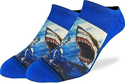Good Luck Sock Men's Shark Attack Ankle Socks - Blue, Adult Shoe Size 7-12