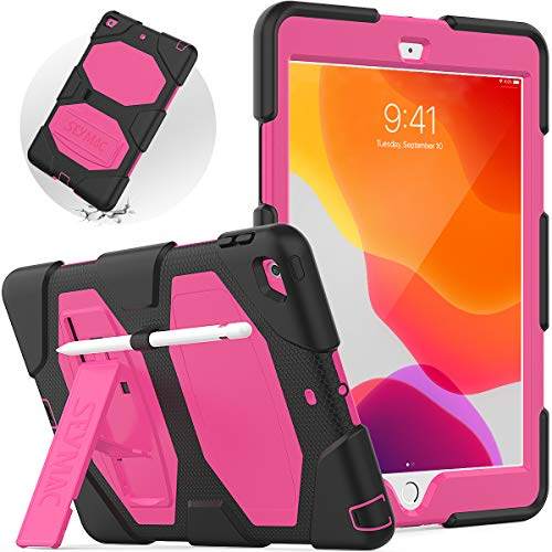 SEYMAC iPad 10.2 Case 2020/2019, iPad 7th Generation Case, iPad 8th Generation Cover with Stylus Holder, Built-in Stand,Three Layer Full Body protective Case Kids with Hard PC Soft Silicone, Pink