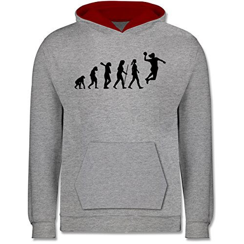 Shirtracer Evolution Kind - Handball Evolution Damen - 152 (12/13 Jahre) - Grau meliert/Rot - Hoodie Handball - JH003K - Kinder Kontrast Hoodie