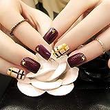 TJJF Uñas postizas 24Pcs Red False Nails Ladies 3D Rivet Nails Art Tips Con pegamento Cubierta completa Nuevo diseño Fake Nails Manicure Tools