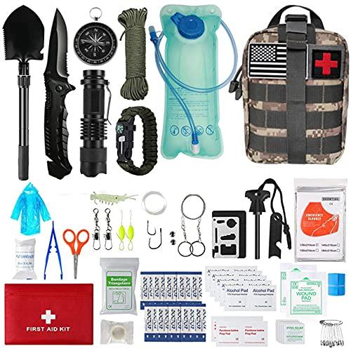 Kit de Supervivencia,Bushcraft Vivac Acampada,Militar Profesional de Emergencia,Montaña Excursión Senderismo al Aire Libre Linterna,Pedernal Navaja Viaje Acampar (2)