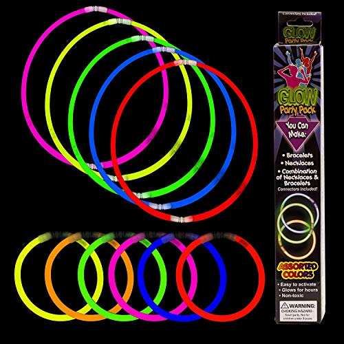Fun Central 21 Pieces - Glowstick Necklace and Glow Bracelet Kit for Wedding, Concert and Party - Assorted Colors