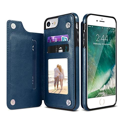 KIOKIOIPO-N Funda de Piel Retro PU Casos Multi Card titulares de teléfono for iPhone 6 7 8 Plus 6s 5S SE, iPhone X XS MAX XR, Samsung S7 S8 S9 S10 for el iPhone 7 8 Plus (Color : Azul)