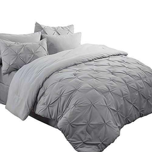 Bedsure King Size Comforter Set Bed in A Bag Grey 8 Pieces - 1 King Comforter Sets(102X90 inches), 2 Pillow Shams, 1 Flat Sheet, 1 Fitted Sheet, 1 Bed Skirt, 2 Pillowcases