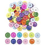 Mox 100 Pezzi Bottoni di Resina Rotondo Colorati Bottoni Con Quattro Fori per Cucito Fai da Te Artigianato Decorare Scrapbooking 20mm