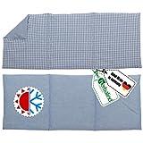HERBALIND 3-Kammer Wärmekissen Körnerkissen Schulter Nacken 50x20 cm in Karo/blau - 100% Baumwolle - Getreidekissen mit Bio Roggen- und Weizen Füllung für Mikrowelle - Geschenk für Männer