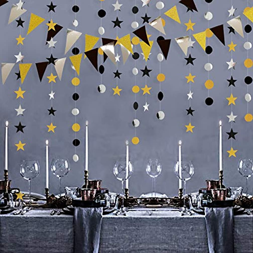 Gold Silver Black Party Decoration Kit Double Sided Glitter Triangle Banner/Star/Circle Dot Decorations Garlands Streamer Glittery Pennant Banner Décor for Birthday/Wedding/Anniversary/Graduation