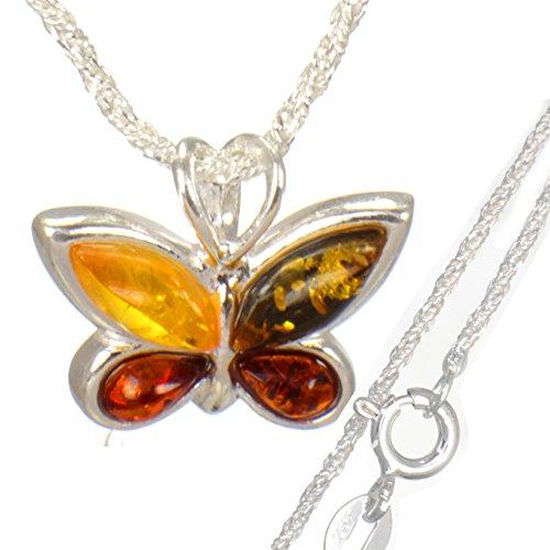Bernstein Schmetterling Kettenanhänger mit Silberkette 45cm aus echt 925er Silber #586