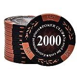 DBGA Juego de 50 Fichas de Poker Casino Club Fichas de Póker a Granel para Juego de Mesa (Multicolor) - Elija Denominación ($1-10000)