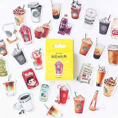 YCBHD 46-delige set Kawaii Café drank papier decoratie schrijfwaren DIY dagboek dagboek sticker student Supply Start/keuken marineblauw