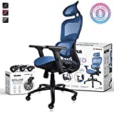 NOUHAUS Ergo3D Ergonomic Office Chair - Rolling Desk Chair with 3D Adjustable Armrest, 3D Lumbar Support and Extra Blade Wheels - Mesh Computer Chair, Gaming Chairs, Executive Swivel Chair (Blue)