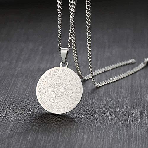 niuziyanfa Co.,ltd Collar de Acero Inoxidable para Hombre El Sello de los Siete arcángeles Salomón Kabbalah Amuleto Colgante Sello joyería Regalos