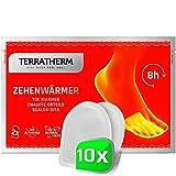 TerraTherm Calentadores Adhesivos para los Dedos de los pies, 8 Horas de pies Calientes, Almohadillas calentadoras de pies Extra Finas y cómodamente Suaves, 10 Pares