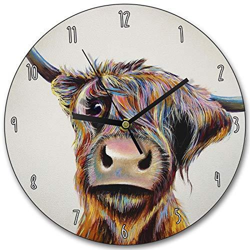 Toll2452 A Bad Hair Day Uhr schottische Kuh Wanduhr Kuh Zeitmesser Highland Kuh Geschenk Schöne Kuh Heimdekoration