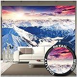 GREAT ART Mural de Pared ? Panorama De Los Alpes ? Mural Puesta De Sol De Invierno Paisaje De Nieve Naturaleza Montañas Glaciares Cumbre Foto Tapiz Y Decoración (336 x 238 cm)