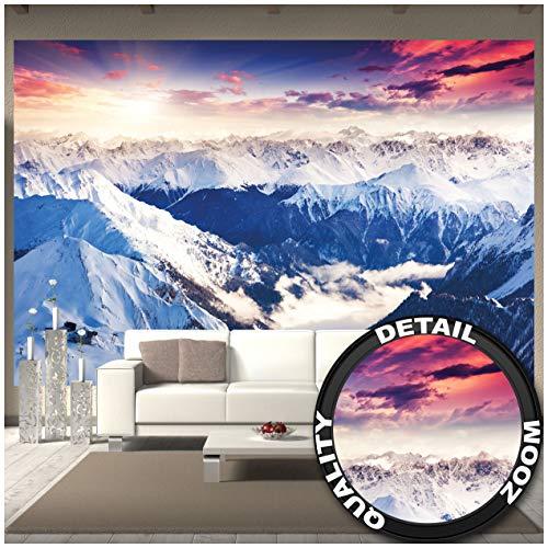 GREAT ART Fototapete – Alpen Panorama – Wandbild Dekoration Winter Sonnenuntergang Schnee Landschaft Natur Berge Gletscher Gebirge Gipfel Foto-Tapete Wandtapete (336 x 238 cm)