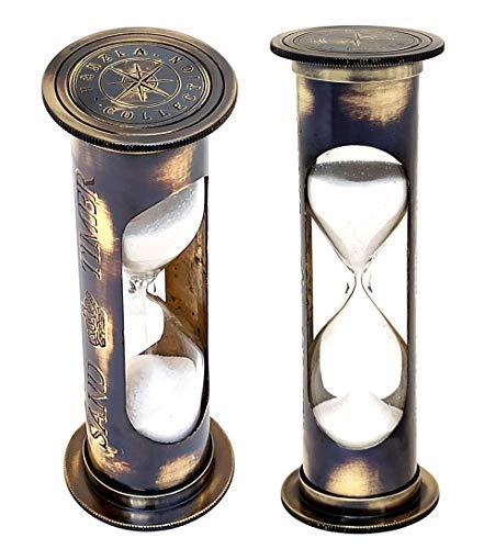Vintage marítima 7'latón arena temporizador ~ náutico West London latón reloj de sol reloj de arena