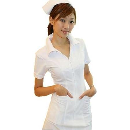 【本格的 4点セット】純白 ナース服 コスプレ(ナース服・ナースキャップ・白網タイツ・聴診器)