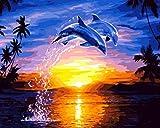 Pintura De Bricolaje Por Números Art Craft De Home Pared Decoración Para Niños Adultos Regalo Dibujo Kits Delfines Saltando Al Atardecer 40X50Cm