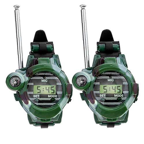 Berrywho 2 Reloj de Las PC Walkie Talkies para Niños de Largo Alcance Radio de Dos vías del ejército del Aire Libre Juguetes 150 Metros