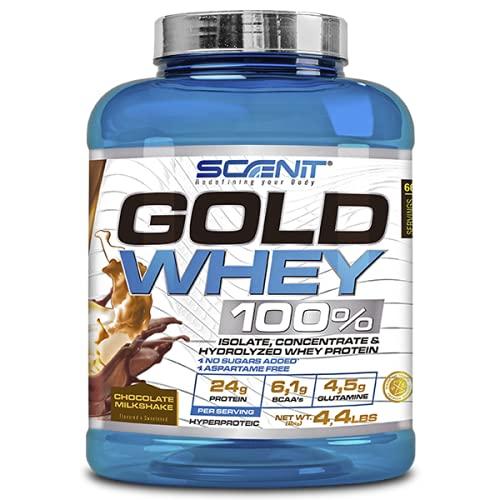Gold Whey 100% | Mezcla de proteína de suero de leche aislada, concentrada e hidrolizada | Proteína en polvo con aminoácidos para el desarrollo muscular | 2 kg (Chocolate)