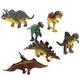 Pixnor 6pcs Dinosaur Set Tyrannosaurus Stegosaurus Triceratops Utahraptor Spinosaurus Pterosaur Model Kids Toy