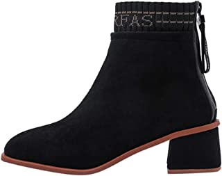 Kauneus Womens Faux Suede Comfortable Sock Ankle Boot Chunky Mid Heel Zipper Stretchy Short Boot Fashion Shoes