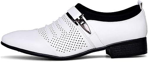 JUJIANFU-Schuhe für Herren, modisch, Reine Farben, Oxford-Schuhe, Slip-On-Stil, Mikrofaser, Leder, hohl, Metaldecor