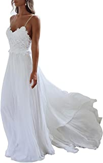XJLY Spaghetti Straps Applique Backless Long Chiffon Beach Wedding Dress