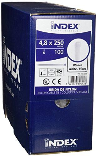 Index CKBB48250 Bridas de Nylon, Blanco, 4,8 x 250 mm, Set de 2000 Piezas