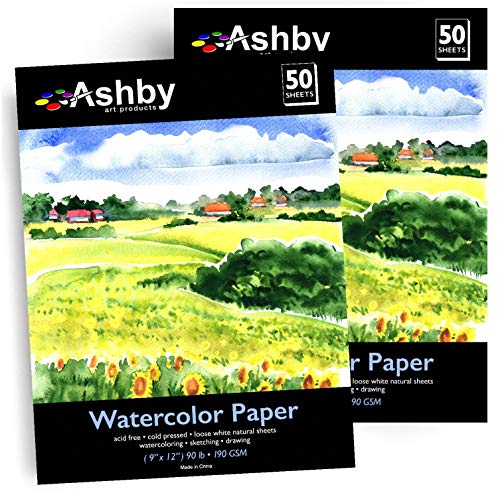 """Ashby 100 Sheets of Practice Watercolor Paper (9"""" x 12"""") - 190 GSM, Acid-Free and Cold Pressed. Perfect for Painting or Drawing. Wet, Dry and Mixed Media. Bulk Pack"""