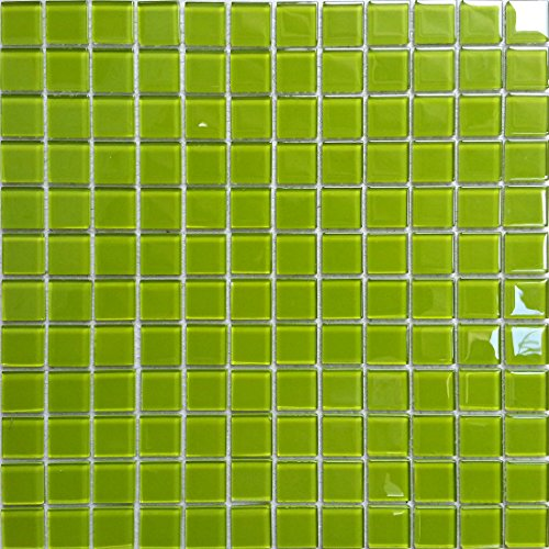 Piastrelle in vetro trasparente effetto mosaico, ultra-moderne, in verde, pannellatura per pareti (MT0023 GTDE), 30 cm x 30 cm