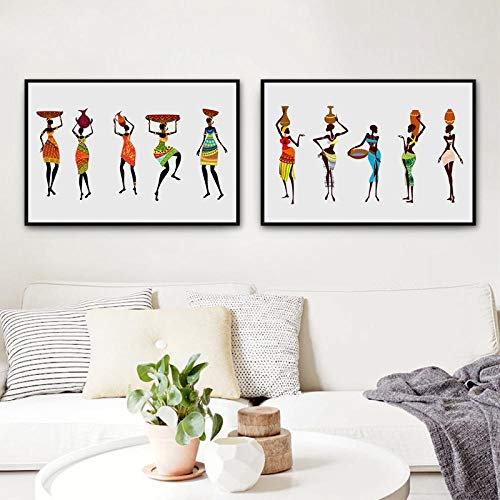Afrikaanse vrouwen in traditionele jurk foto's Canvas Poster Poster, abstracte Afrikaanse zwarte vrouwen Prints traditionele decoratie 40x70 cmx2 geen frame