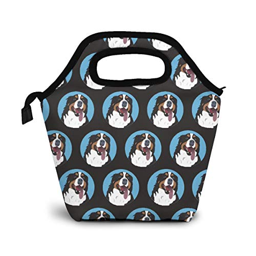 Funny Bernese Mountain Dog Face Lunch Bag Tote Bag Lunch Bag Lunch Box Insulated Lunch Container