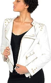 Womens Oblique Zipper Irregular Biker Moto Stylish Denim Jacket Coat