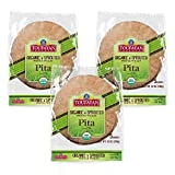 Toufayan Bakery, Organic Sprouted Whole Wheat Pita Bread, USDA Organic Certified, Cholesterol Free, No Trans Fats and Certified Kosher (10oz Bags, Pack of 3)