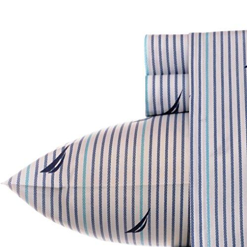 Nautica | Percale Collection | Bed Sheet Set - 100% Cotton, Crisp & Cool, Lightweight & Moisture-Wicking Bedding, Queen, Anchor